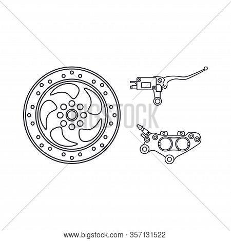 Line Vector Icon Auto Moto Parts Accessories Brake Cylinder Disk. Repair Service Equipment. Engine E
