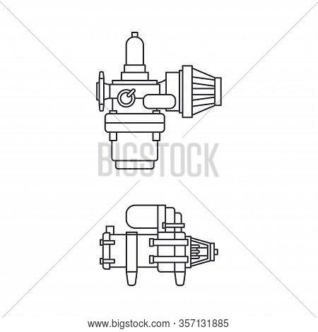 Line Vector Icon Set Moto Parts Accessories Electric Starter. Repair Service Equipment. Engine Eleme