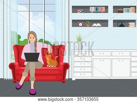 Young Professional Woman Working From Home At Sofa With Laptop.self Employed Conceptual Vector Illus