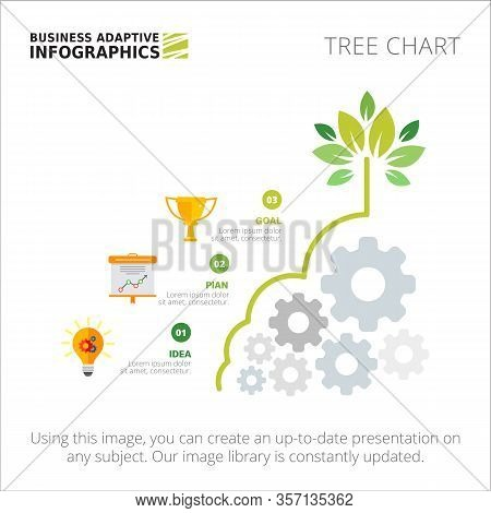 Tree Chart With Three Steps. Process Diagram, Metaphor Chart, Layout. Creative Concept For Infograph