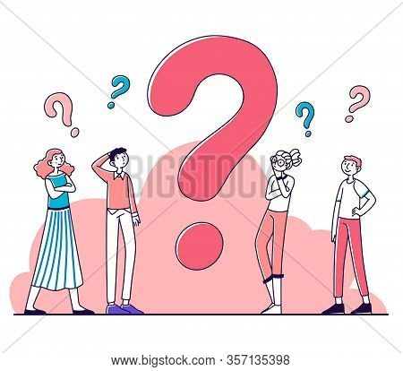 Puzzled People Thinking Over Problem Solution, Searching Answers. Pensive Cartoon Characters Standin