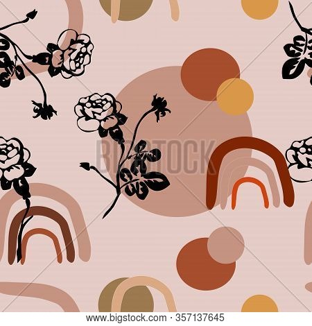 Monochrome Minimalist Pattern With Ethnic Sun, Arc And Rose Flower. Seamless Pattern On A Beige Back