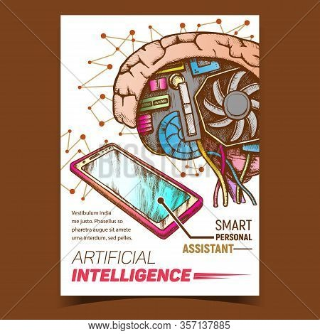 Artificial Intelligence Ai Promotion Banner Vector. Ai Cybernetic Brain And Phone Smart Personal Ass