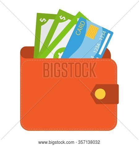 Wallet, Wallet With Money And A Credit Card. Vector Illustration Of A Realistic Male Wallet Isolated