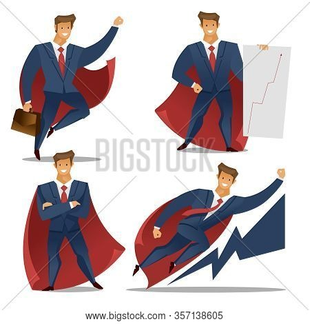 Cartoon Color Characters People Businessman Superhero Concept Set Flat Design Different Pose. Vector