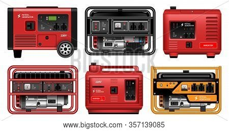 Electric Generator Vector Realistic Set Icon. Vector Illustration Petrol Generator On White Backgrou