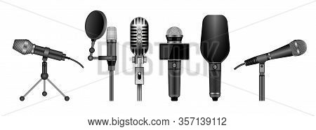 Microphone Isolated Realistic Set Icon. Vector Realistic Set Icon Music Equipment. Vector Illustrati