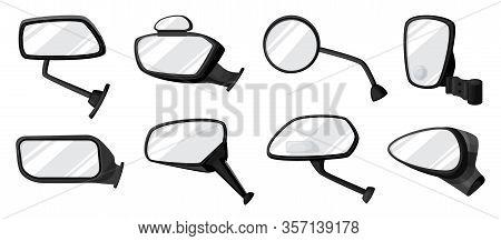 Side Mirror Vector Cartoon Set Icon. Vector Illustration Auto Glass On White Background. Cartoon Set