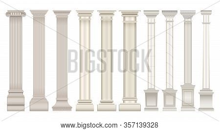 Antique Column Realistic Set Icon. Isolated Vector Realistic Set Icon Classic Pillar. Vector Illustr