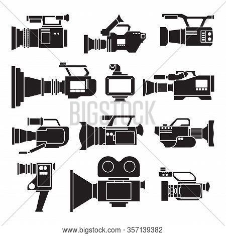 Video Camera Black Vector Illustration On White Background .video Camera Set Icon. Vector Illustrati