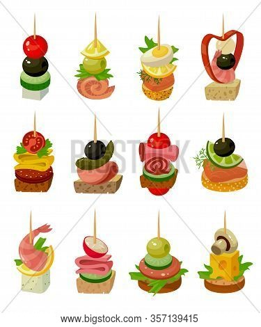 Canape Of Food Vector Illustration On White Background. Isolated Cartoon Set Icon Appetizer. Vector