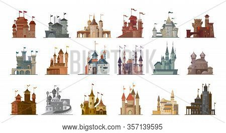 Medieval Castle Isolated Cartoon Set Icon. Vector Illustration Ancient Palace On White Background. V
