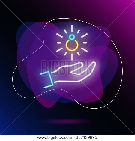 Jewelry Purchasing Neon Sign. Ring Falling On Human Palm On Brick Wall Background. Vector Illustrati
