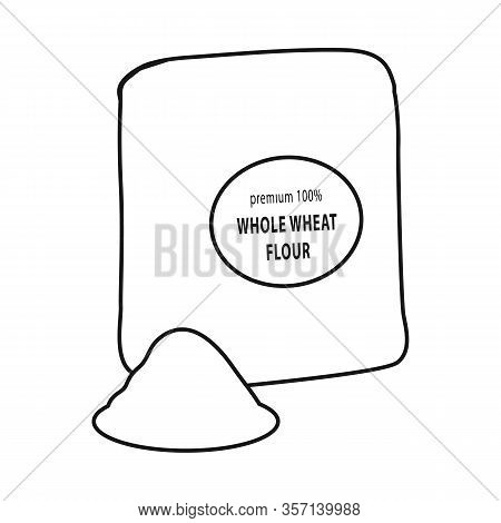 Vector Design Of Flour And Pack Logo. Collection Of Flour And Bag Stock Symbol For Web.