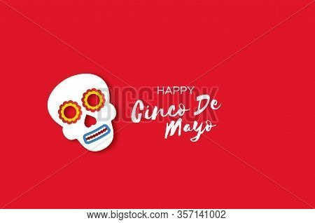 Cinco De Mayo Banner With Mexican Colorfull Skull In Paper Cut Style. Red Background. Space For Text