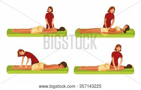 Set Of Woman Masseur Making Massage For The Girl. Vector Illustration In Flat Cartoon Style.