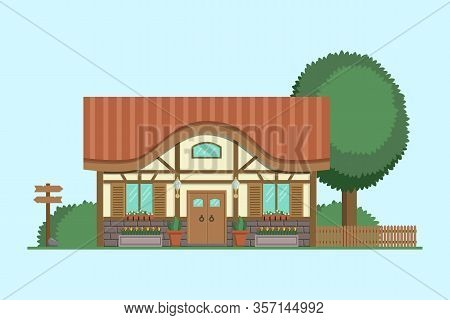Half-timbered Cottage. Summer House With Trees And Bushes. Modern Apartment Vector Illustration.