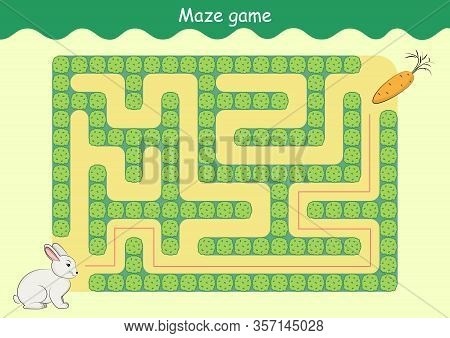 Rabbit And Carrot Maze. Educational Game For Children. Help The Rabbit Find The Carrot - Maze Puzzle