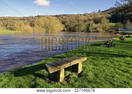 River Wye In Flood At Lower Lydbrook, Gloucestershire, Uk