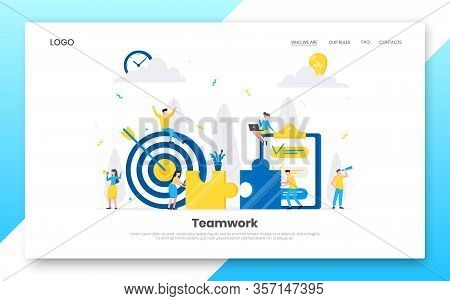 Teamwork Concept With Tiny People Characters Working Together With Big Target And Tiny People Charac
