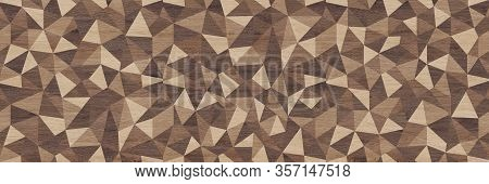 Abstract Parquet Floor With Rumpled Futuristic Triangular Geometric Surface And Wooden Background