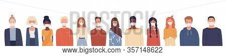 Multiethnic Group Of People Wearing Medical Masks. Global Problem. Disease Epidemic, Coronavirus Inf