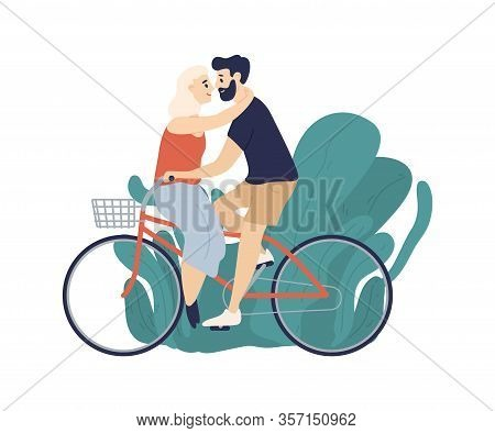 Active Couple Riding On Bike Together Isolated On White Background. Happy Enamored Man And Woman Bic