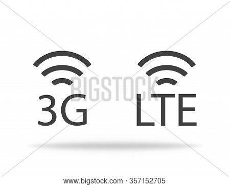 3g And Lte Signal Level. Strenght Of Network Connection. Vector Eps 10