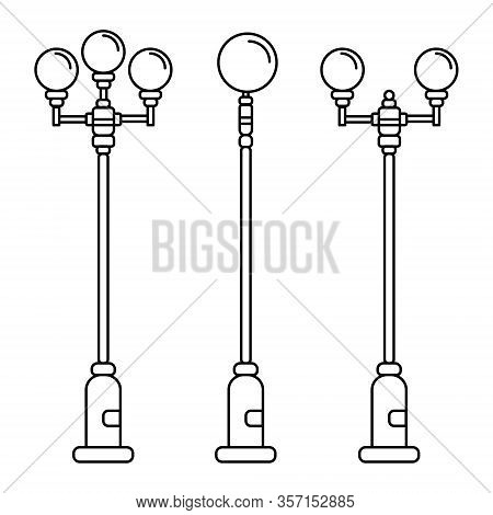Streetlight Vintage Lamp Icons Isolated On White Background. Flat Thin Line Design. Vector Illustrat
