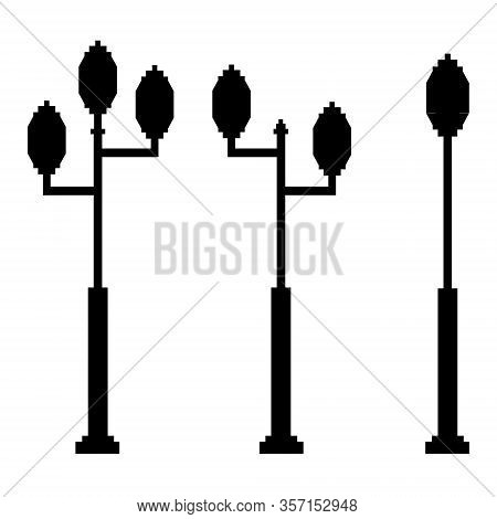 Streetlight Vintage Lamp Silhouette Isolated On White Background. Vector Illustration Of Traditional