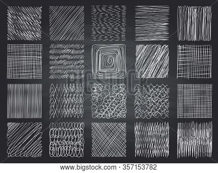 Hatching Textures. Pencil Sketching Shading Grunge Effect Vector Patterns Collection. Art Scratch St