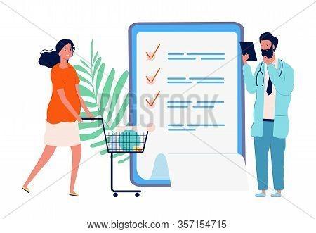 Shopping For Pregnant Women. Checklist, Shopping List For Maternity Hospital. Motherhood, Girl With