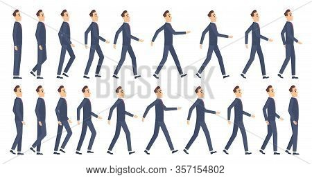 Walking Animation. Business Characters 2d Animation Key Frames Game Cartoon Sprite Vector Mascot. Il