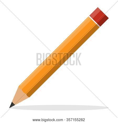 Pencil, Realistic Pencil With Shadow, Isolated On A White Background. Vector, Cartoon Illustration.