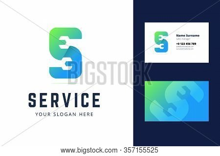 Logo And Business Card Template For Auto, Repair Services, System Administrators, Car Services. Vect