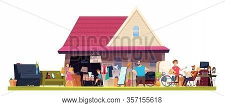 Flea Market. Shopping Marketplace Vintage Toys Books Furniture Vector People Sellers Cartoon Collect