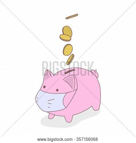 Moneybox Pig In Medical Mask, Coins Are Falling