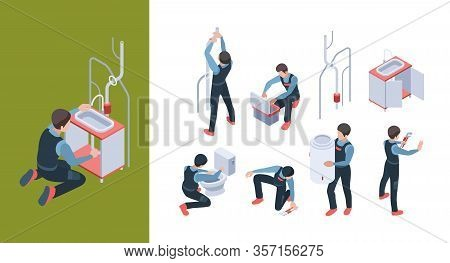 Plumbing Service. Install Pipelines Fixing And Repair Bathroom Toilet Vector Isometric Illustration.