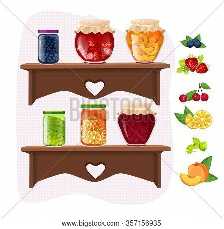 Home Made Jam. Marmalade Fruit Dessert Jamming Jars Traditional Glass Packaging On Shelves Vector Se