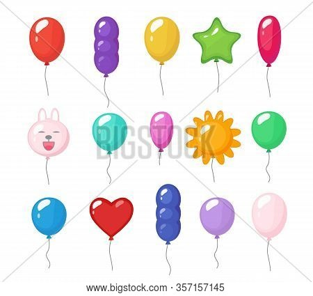 Cartoon Balloons. Festive Entertainment Bright Reflections Colored Items Shiny Flying Toys For Party