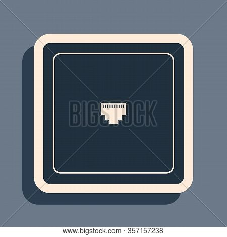 Black Ethernet Socket Sign. Network Port - Cable Socket Icon Isolated On Grey Background. Lan Port I