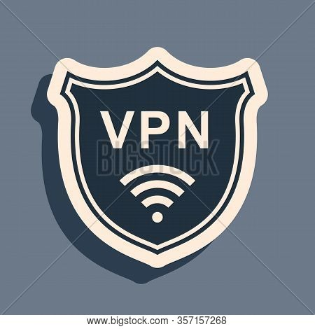 Black Shield With Vpn And Wifi Wireless Internet Network Symbol Icon On Grey Background. Vpn Protect