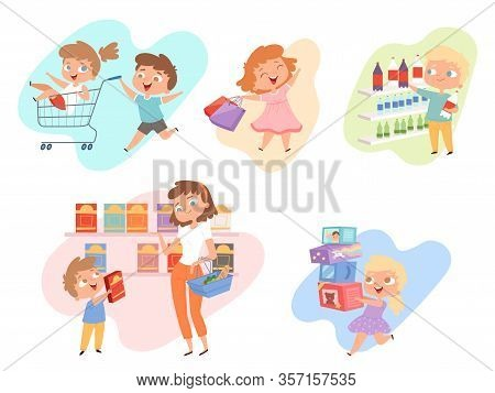 Kids Shopping. Children Playing In Grocery Market Fashioned Family Happy Kids Vector. Kid Shopping G