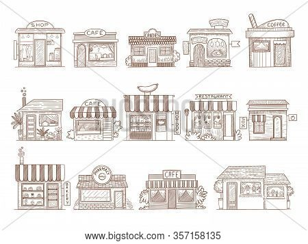 Hand Drawn Buildings. Pharmacy Shop Bar And Restaurant Market Vector Illustrations. Pharmacy And Mar