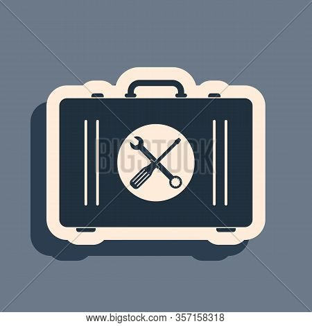 Black Toolbox Icon Isolated On Grey Background. Tool Box Sign. Long Shadow Style. Vector Illustratio