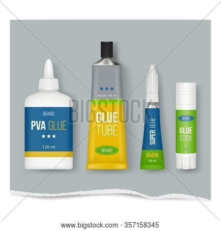 Glue Stick. Realistic Stationary Templates Glue Plastic Packages Set Vector Pictures Isolated. Glue