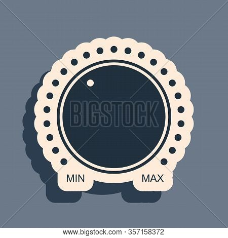 Black Dial Knob Level Technology Settings Icon Isolated On Grey Background. Volume Button, Sound Con