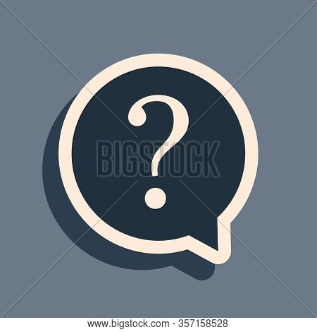Black Question Mark In Circle Icon Isolated On Grey Background. Hazard Warning Symbol. Faq Sign. Cop