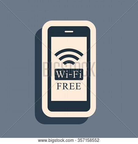 Black Smartphone With Free Wi-fi Wireless Connection Icon Isolated On Grey Background. Wireless Tech