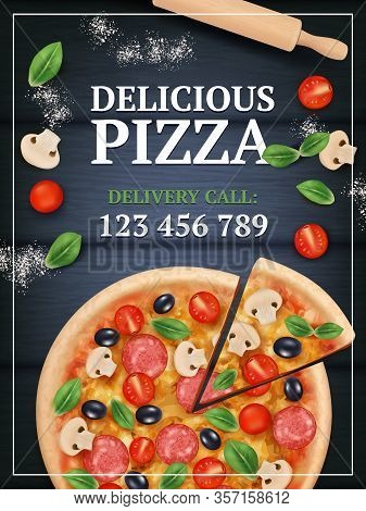 Pizza Ads Poster. Sliced Delicious Tasty Traditional Italian Food With Vegetables And Meal Vector Re